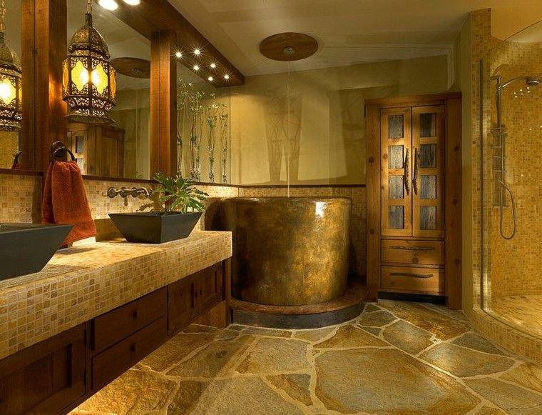 diseño baños rusticos lajas suelo acogedor