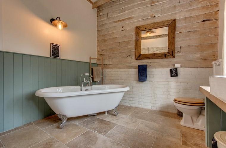 diseño baños rusticos lamparas industriales espejo