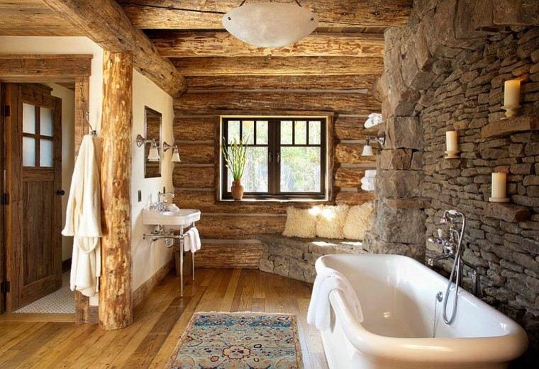diseño baños rusticos madera tina troncos