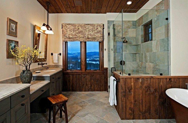 diseño baños rusticos paneles madera flores