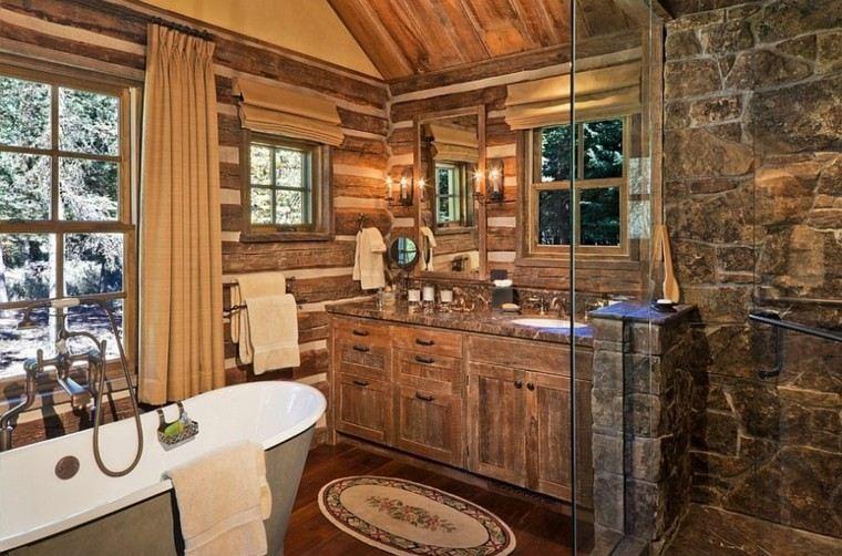 diseño baños rusticos paredes oiedras ducha
