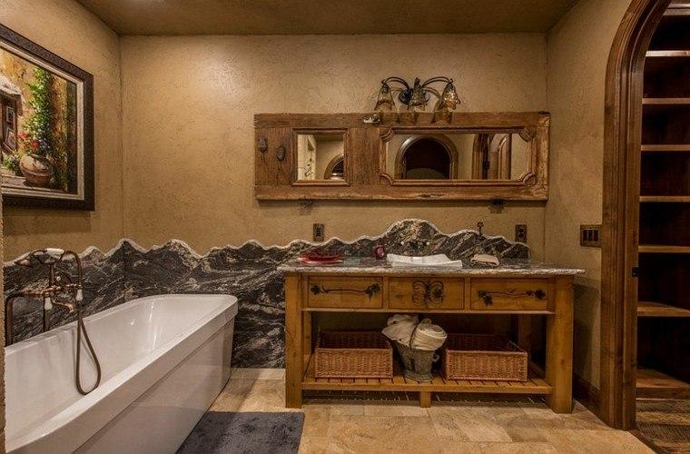 diseño baños rusticos paredes textura gabetero