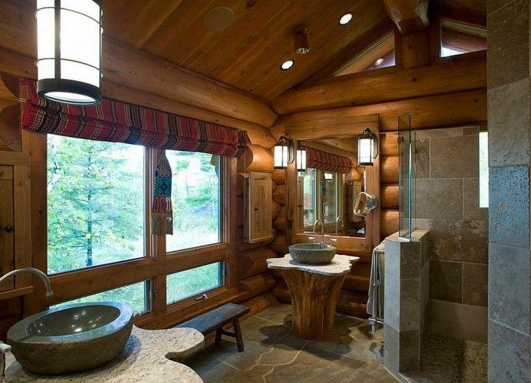 diseño baños rusticos piedra trabajada marmol
