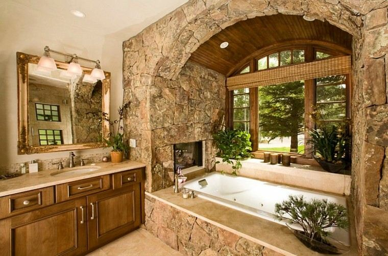 diseño baños rusticos rocas plantas arco