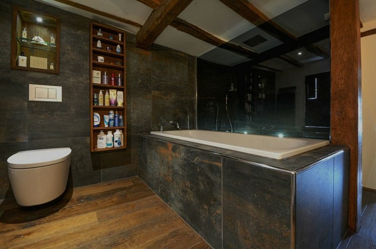 diseño baños rusticos tonos oscuros elegante