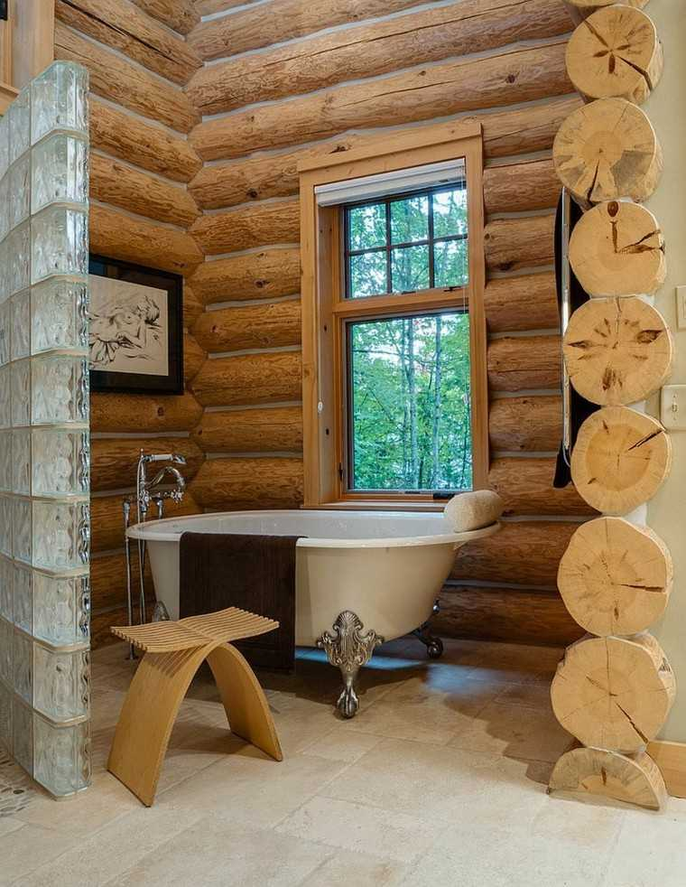 diseño baños rusticos troncos cabana vidrio