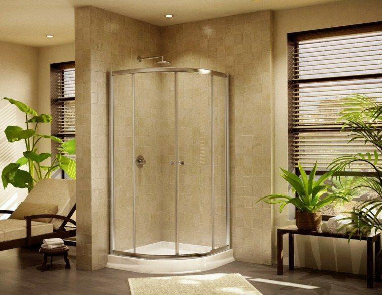 diseño cabina ducha esquina beige