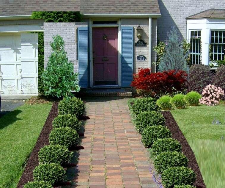 diseño camino entrada casa baldosas