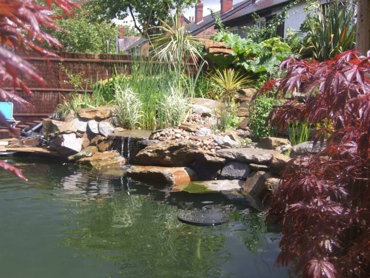 diseño cascada estanque natural jardin