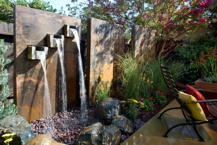 diseño moderno cascadas valla jardin