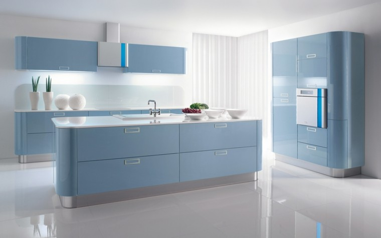 diseño cocina moderna color celeste