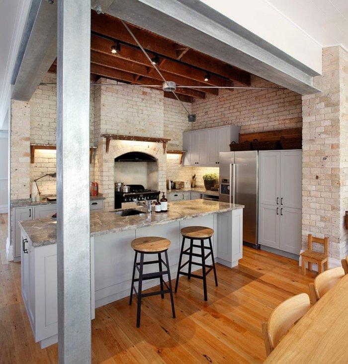 diseño cocina pequeña estilo industrial
