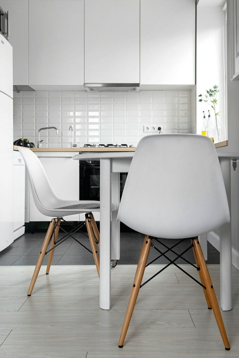 diseño cocina pequeña blanca nordica