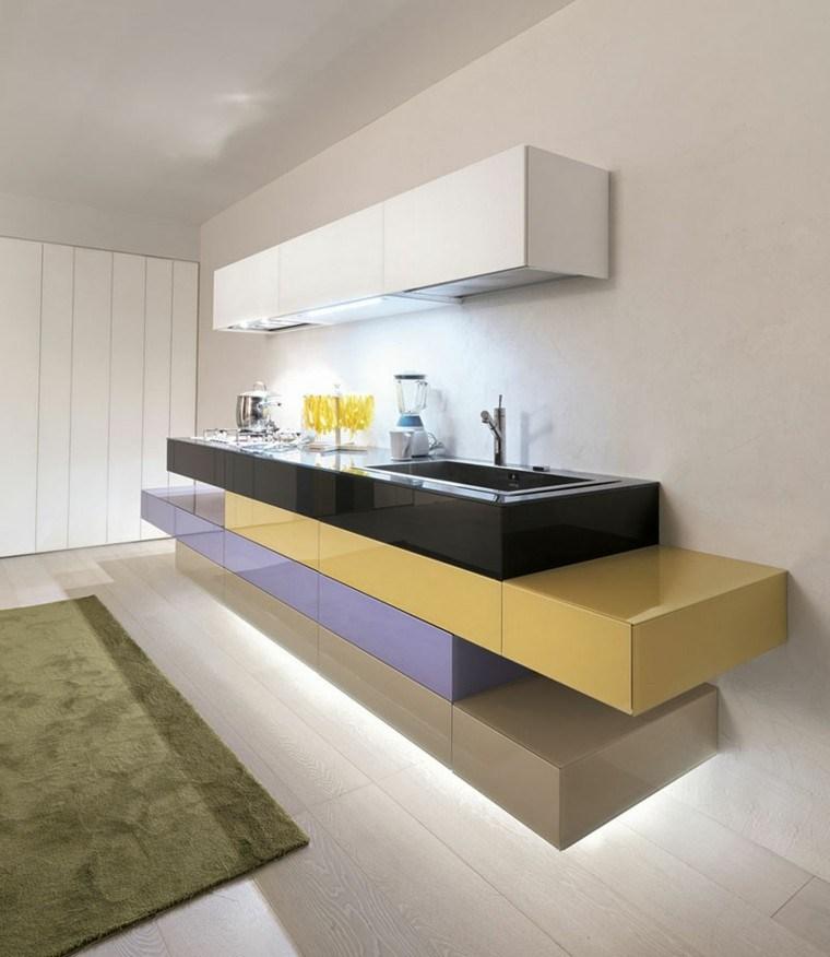 diseño cocina pequeña moderna muebles