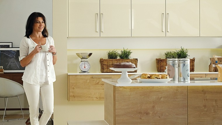 diseño cocina color beige madera