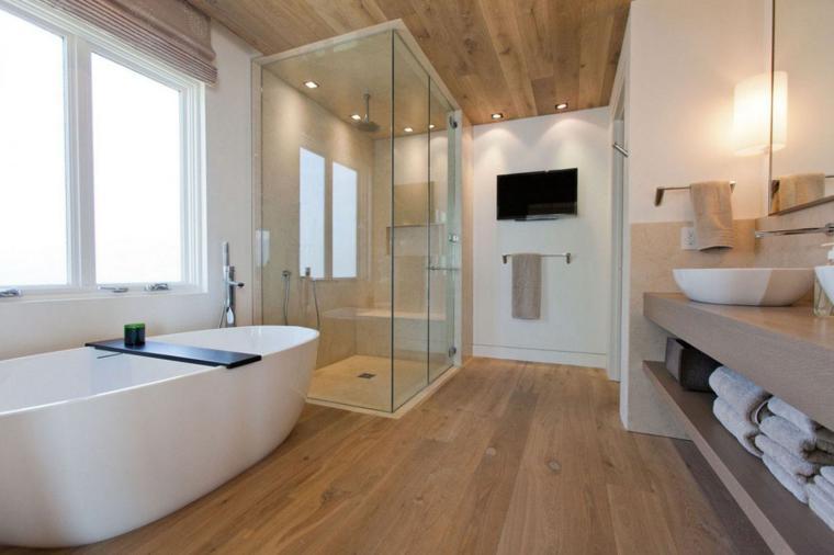 revestimientos madera baños modernos