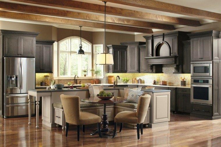diseño de cocinas elegante acero lamparas