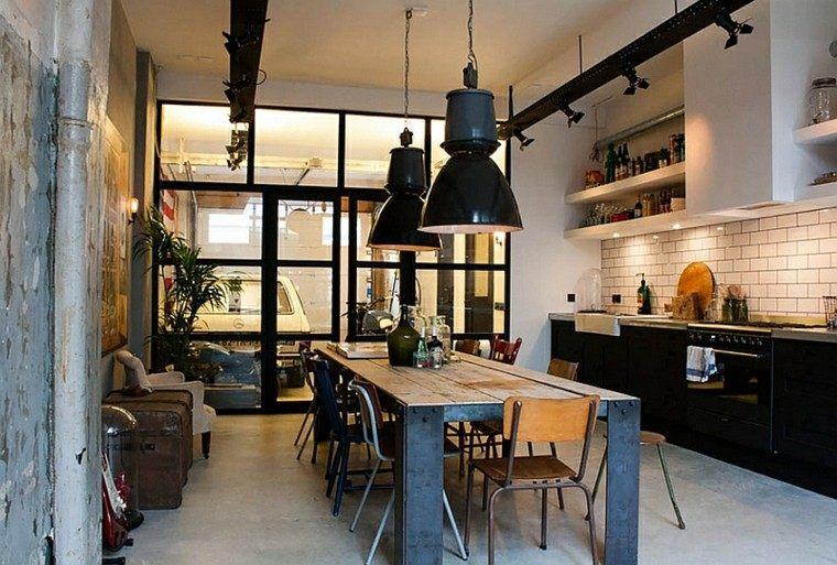 diseño de cocinas industrial estilo lamparas
