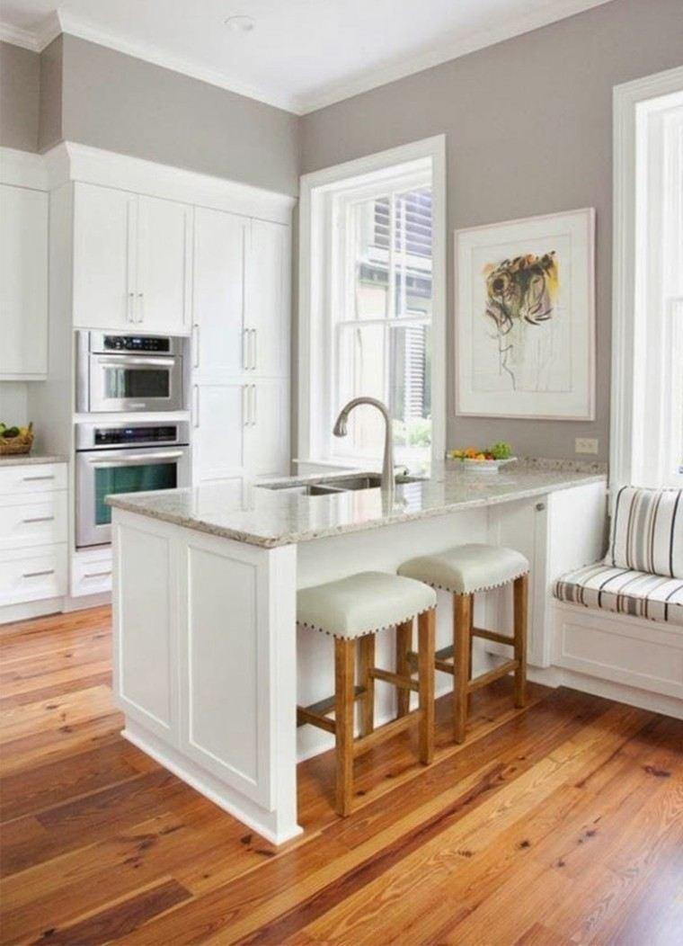 diseño de cocinas isla blanca taburetes