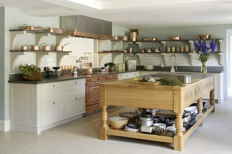 diseño de cocinas madera isla solida