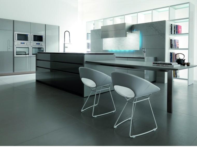 diseño de cocinas modernas gris