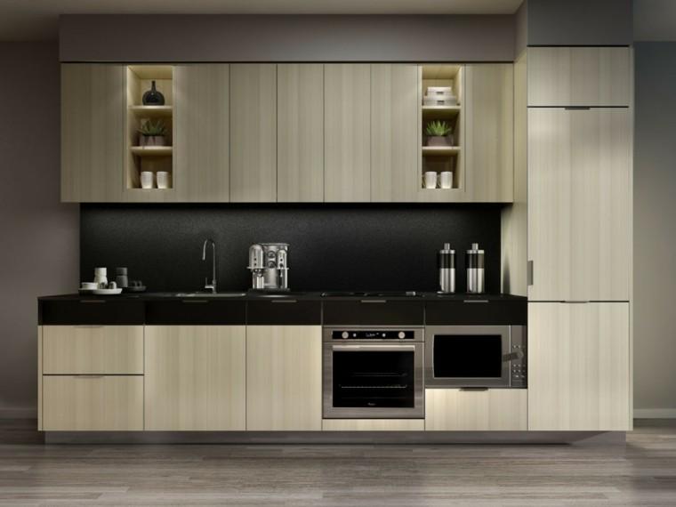 diseño de cocinas moderno estantes led