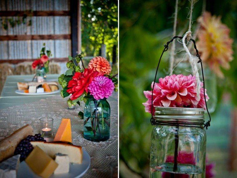 diseño diy  flores mesa platos colgante
