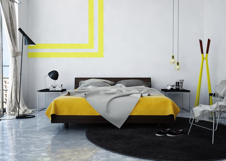 diseño dormitorio bandas amarillas
