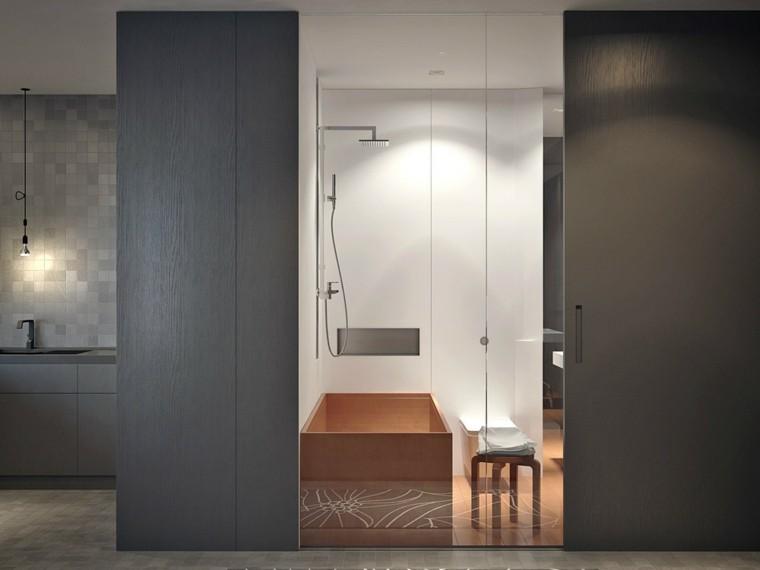 diseño ducha moderna madera gris