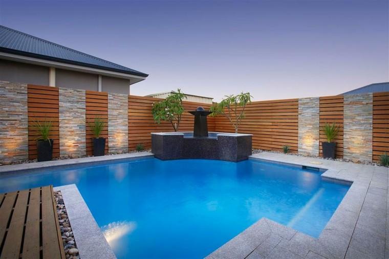 diseño fuente esquina modelos piscina