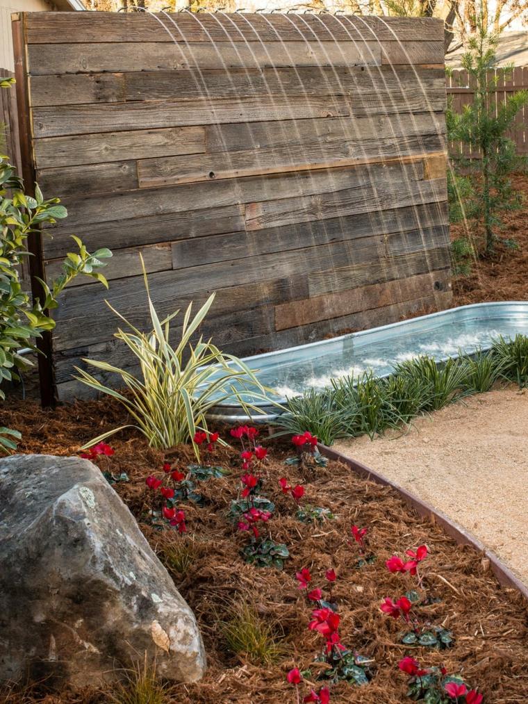 diseño fuente agua pared madera