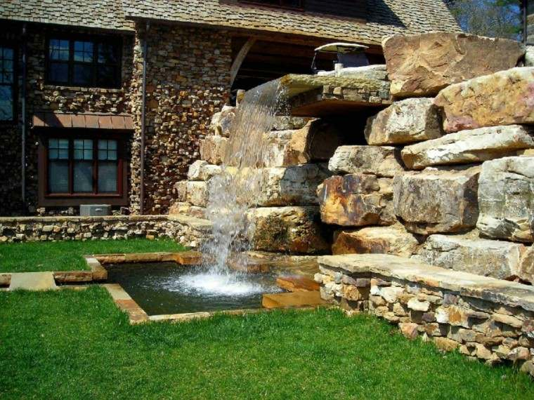 diseño fuente piedra cascada agua