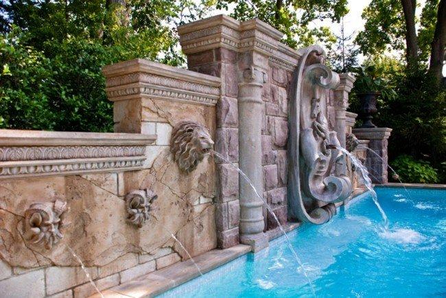 diseño fuentes piscina leones figuras