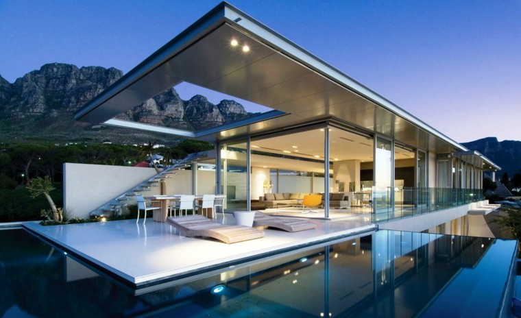 diseño estilo futurista terraza piscina