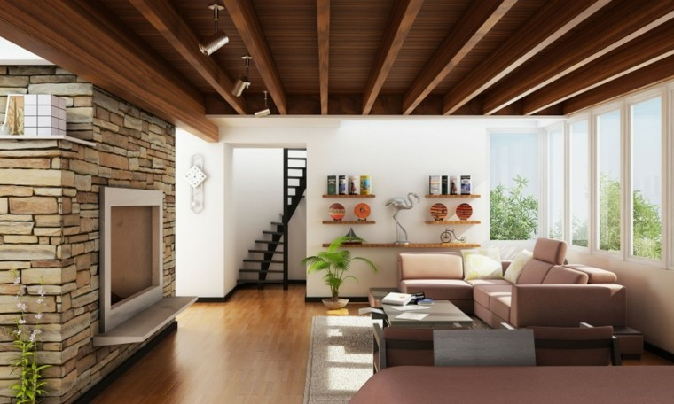 diseño interiores modernos techo madera