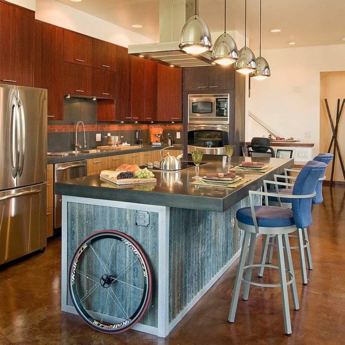 diseño isla cocina electrodomesticos acero