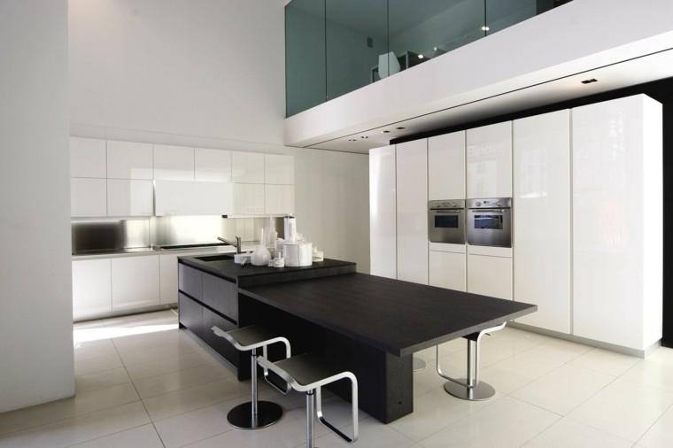 diseño isla cocina negra moderna