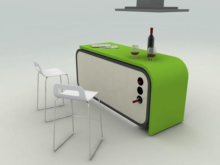 diseño isla de cocina verde