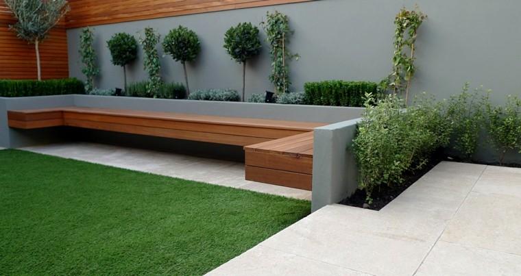 diseño jardin pequeño banco madera