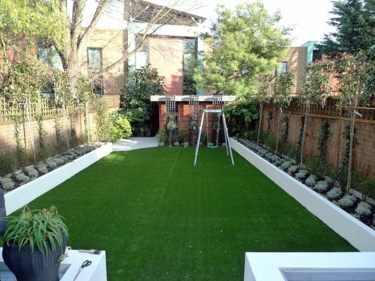 diseño jardin columpio infantil patio