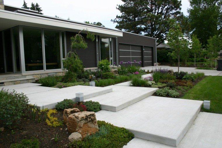 diseño jardin escaleras rocas plantas