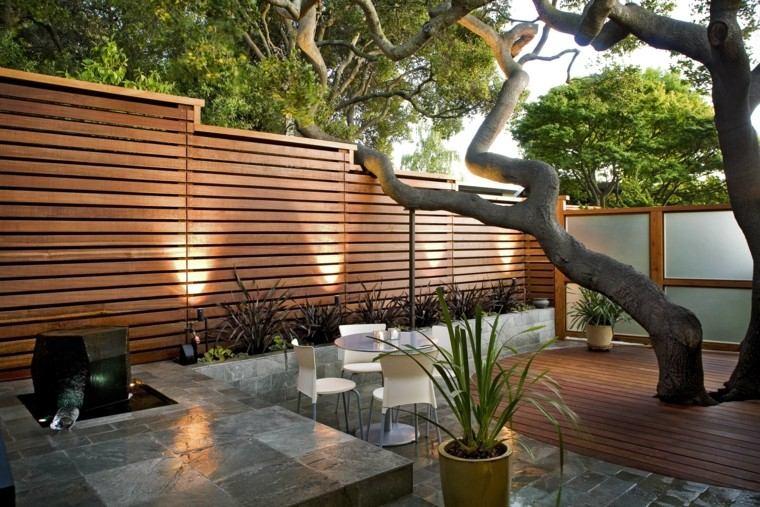 diseño jardin moderno fuente arbol