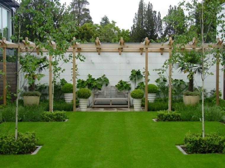 diseño jardin plantas banco centro