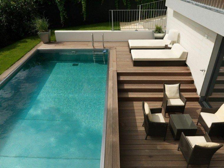 diseño jardin piscina plataforma madera