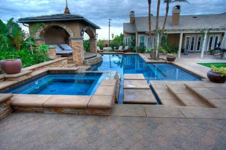 diseño jardines modernos miradores piscina