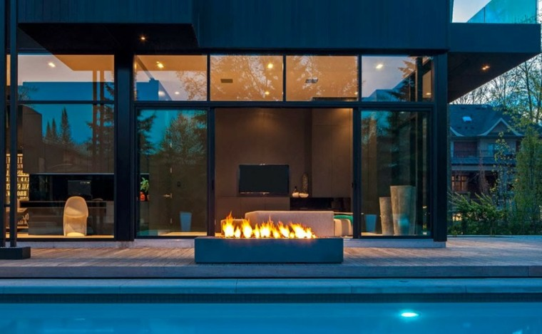 diseño jardines modernos piscina chimenea