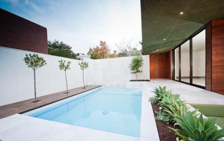 diseño estilo minimalista jardin piscina