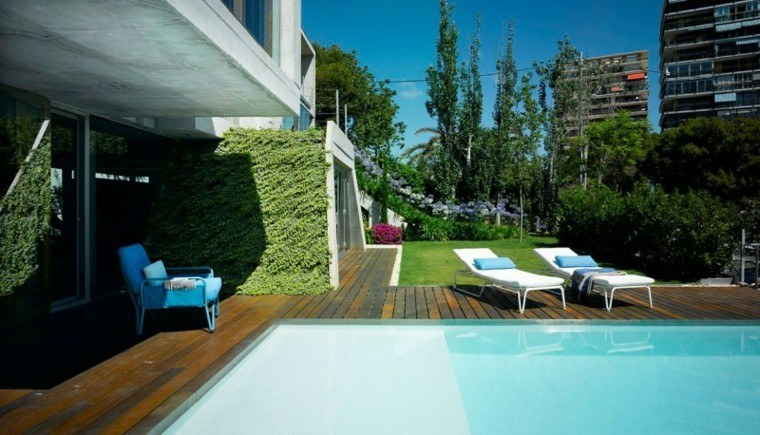diseño modelos jardines piscina
