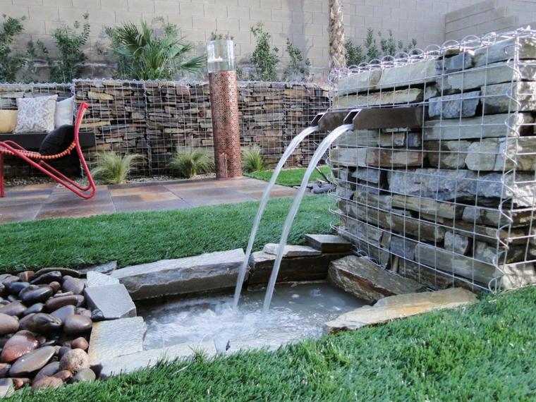 diseño moderno fuente agua piedra