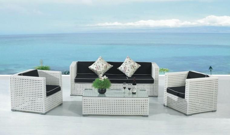 diseño moderno muebles rattan blanco